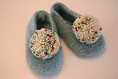 pompom slippers - one of the 1st things I learned to knit (in the 3rd grade!)