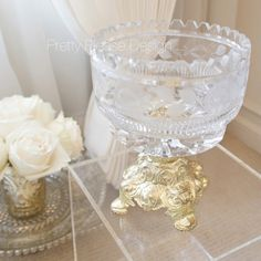 FOR SALE: Sofreh Aghd Bowl | Vintage Lausitzer Crystal Pedestal | Persian Wedding Pretties | Home Decor by prettypleasedesign, $95.00