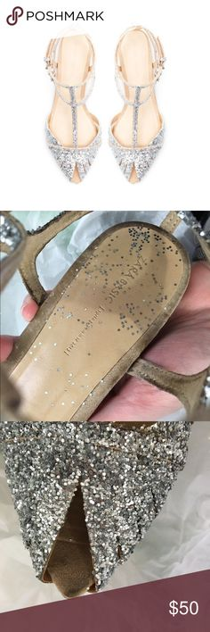 Rare Zara Glitter Flats Heavily worn sandals. Purchased these used on eBay for my wedding (I paid $100 I wanted them so bad!) but decided to go with something else to match my dress. These have been tampered with- I used a spray adhesive to add extra sequins because there were hardly any on them when I got them. The sequins don't stay on well. Euro size 37. Please note sequins permanently stuck to sole of shoe, scratches on bottom, dark mark at pointed toe and folds in sole. 🎀20% off 2…