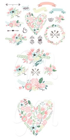 Floral Wreaths Clip Art & Flowers #photoshop #paintshop #scrapbbook