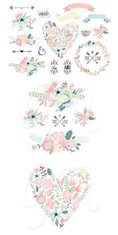 Wedding Floral clipart, Wreath heart GraphicMarket  Creative Market
