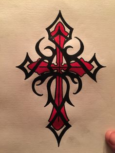 Red cross with tribal cross tattoo Tribal Cross Tattoos, Celtic Cross Tattoos, Cross Tattoo For Men, Cross Tattoo Designs, Cross Designs, Tattoo Designs Men, Tattoo Drawings, Body Art Tattoos, Sleeve Tattoos