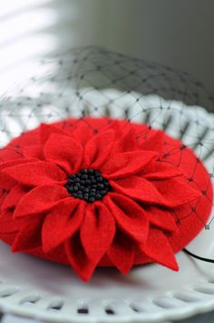 Red Petals Cocktail Hat Fascinator Mini Very by MaynardMillinery, £80.00