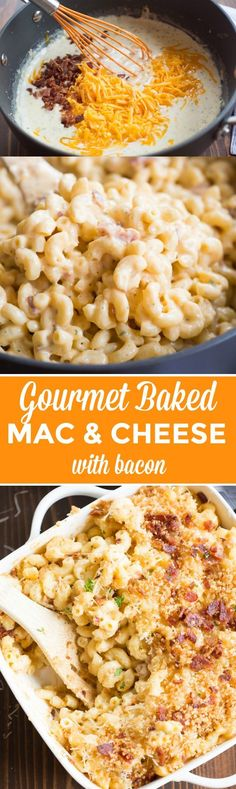 "This creamy, cheesy, gourmet baked mac and cheese with bacon will outshine any mac and cheese you've tasted! It is ""restaurant-quality"" AMAZING, and it couldn't be simpler to make. Bake Mac And Cheese, Macaroni Cheese, Mac Cheese, Baked Mac And Cheese Recipe With Bacon, Gourmet Mac And Cheese, Baked Cheese, Meals With Bacon, Bacon Dinner Recipes, Recipes With Bacon"