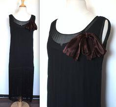Vintage 1920's Dress // 20s Black Silk Chiffon by TrueValueVintage