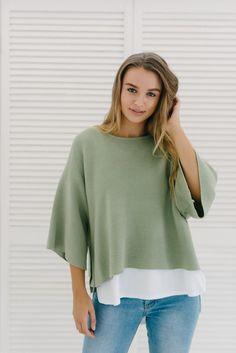 Box knit - sage green Harper Knit