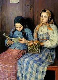 Reading and Art: Nikolay Bogdanov-Belsky, School girls, 1901