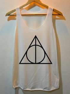 Deathly Hallows Symbol Sign Harry Potter Shirt Tank Top Vest Ladies Small Large