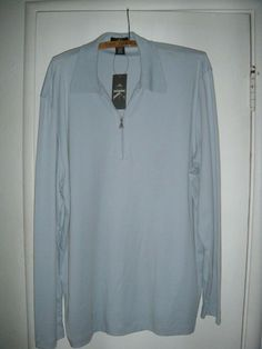 9b17d672d MENS CALVIN KLEIN LIFESTYLE XL SOFT BLUE LS PULLOVER SHIRT NEW WITH TAG  ZIPPER  fashion