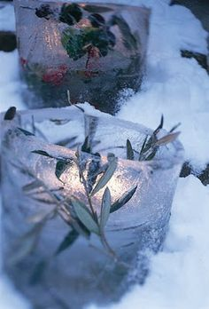 Pretty, ice candle holders for the winter time.