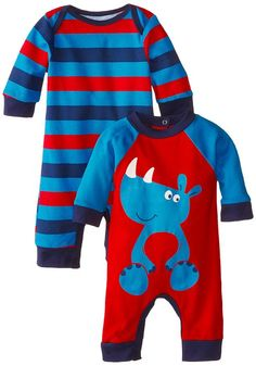 Gerber Baby-Boys Newborn Rhino 2 Pack Coverall, Rhino, 6-9 Months