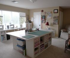 19 Ideas For Sewing Studio Space Atelier Cutting Tables Sewing Room Design, Sewing Room Storage, Craft Room Design, Sewing Spaces, Sewing Room Organization, Craft Room Storage, My Sewing Room, Sewing Studio, Table Storage