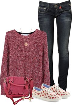 casual spring outfit bmodish | pink sweater, red sweater, pink bag, red sperry's, red vans
