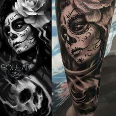 Tattoo Sleeve Women Forearm Awesome 70 Ideas For 2019 - tattoos sleeve Candy Skull Tattoo For Men, Skull Girl Tattoo, Skull Sleeve Tattoos, Sugar Skull Tattoos, Sugar Tattoo, Woman Face Tattoo, Tattoo Hand, Sternum Tattoo, Face Tattoos For Women