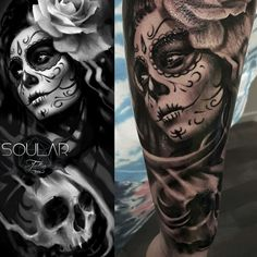 Day of the Dead sleeve tattoo by @matt_parkin_tattoos Soular Tattoo - Christchurch - New Zealand