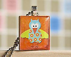 Owl Scrabble Tile Pendant by CarolsThreads on Etsy