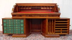 """VICTORIAN WALNUT WOOTON ROTARY ROLL TOP DESK 45"""" T. Sold for $10,000 in 2008"""