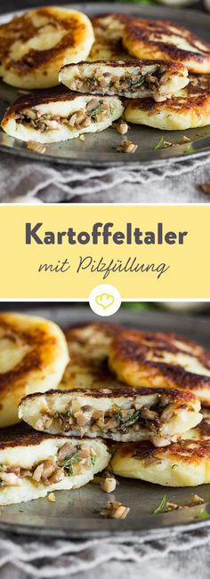 Gefüllte Kartoffelpüree-Taler mit Pilzen The golden brown-fried valleys taste great of potato and hide inside a spicy filling of mushroom and onion. Grilling Recipes, Lunch Recipes, Vegetarian Recipes, Cooking Recipes, Healthy Recipes, Pasta Recipes, Healthy Eating Tips, Healthy Snacks, Good Food
