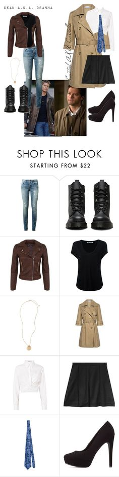 """Gender bent Destiel"" by catthepunisher ❤ liked on Polyvore featuring Yves Saint Laurent, Dr. Martens, Miss Selfridge, Alexander Wang, BP., RED Valentino, T By Alexander Wang, Julien David and Charlotte Russe"
