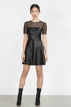Robe noire bi-matière de Zara