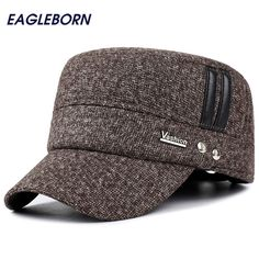 Winter hats Outdoor men caps hat with earflaps keep warm flat roof baseball caps old men thicken snapback Russia casquette