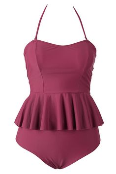 12e14537f65 Cupshe Lingering Kiss Wine Halter Bikini Set Peplum Swimsuit, Halter Bikini,  Cute Bathing Suits