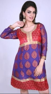 Purple And Red Georgette Tunic