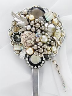 Hand Mirror  Recycled Petite Jardin  by MarilyndaGallery on Etsy, $45.00