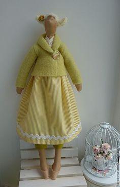 Купить Венди - лайм, лаймовый, желтый цвет, полоска, горчичный цвет, фея тильда