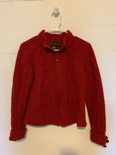 3c5fd92ca030a INIS CRAFTS Irish 100% Merino Wool Red Zip Up Sweater Size Small EUC # fashion #clothing #shoes #accessories #womensclothing #sweaters (ebay link)