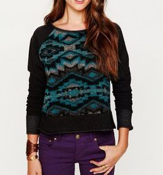 FREE PEOPLE $148 Patterned Bohemian Pullover Dolan Pieced Sweater Top Small GUC #FreePeople #ScoopNeck #Casual