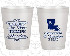 Laissez Les Bons Temps Rouler, Wedding Frosted Party Cups, Nola Wedding, Cajun Wedding, Louisiana, Natural Frosted Cups (398)