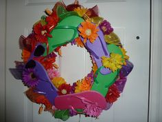 Dollar store pool noodle wreath for summer