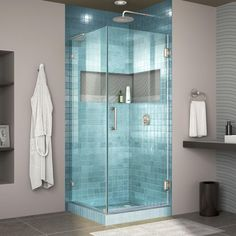 DreamLine Unidoor Lux H x to W Frameless Hinged Chrome Shower Door (Clear Glass) at Lowe's. The DreamLine Unidoor Lux is a fully frameless hinged shower door or enclosure designed in step with modern market trends. The elegant design and an Bathtub Doors, Frameless Shower Doors, Glass Shower Doors, Glass Door, Bathtub Tile, Casa Hotel, Black Shower, Shower Base, Custom Glass