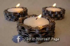 Creative home crafts DIY Upcycling Ideas with bicycle chain candle holders tea c… Kreative Heimwerker DIY Upcycling-Ideen mit Fahrradkette Kerzenhalter Teekerzen Recycled Bike Parts, Bicycle Parts Art, Bike Craft, Old Bicycle, Bicycle Tires, Bicycle Art, Diy Upcycling, Tea Candles, Yankee Candles