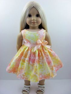 Peach and Yellow Doll Dress for the American Girl Doll by The Whimsical Doll 2, $10.00