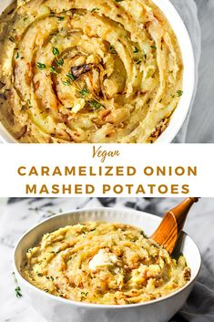 These Vegan Caramelized Onion Mashed Potatoes are the perfect Thanksgiving or Christmas side dish. Homemade Mashed Potatoes, Vegan Mashed Potatoes, Mashed Potato Recipes, Vegan Recipes With Potatoes, Thanksgiving Mashed Potatoes Recipe, Vegan Side Dishes, Food Dishes, Whole Food Recipes, Cooking Recipes