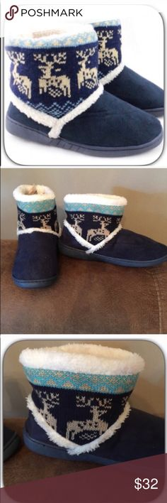 NEW! NWT Faux Suede Blue Reindeer Slipper Booties NEW LISTING! These are fleece lined and so so comfortable! They have a rubber sole and can also be worn outside! I wear mine with skinny jeans! They are super adorable! Fits true to size! Boutique Shoes Ankle Boots & Booties