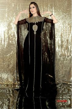 Picture of Glamorous Black Designer Kaftan Arab Fashion, Islamic Fashion, Dubai Fashion, Muslim Fashion, African Fashion, Maxi Dress Wedding, Maxi Dresses, Kaftan Style, Abaya Designs