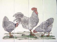 Tegel tableau met kippen