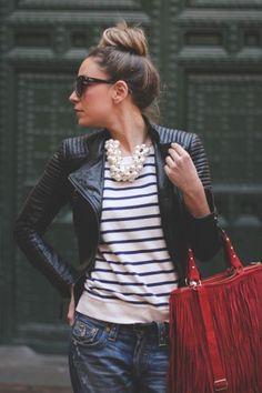 plain black leather jacket