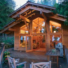 A Big Little House on the Ridge: Nestled among cedars and firs, this cabin packs multiple levels, a fireplace nook, and plenty of room for guests into 800 sq. ft.