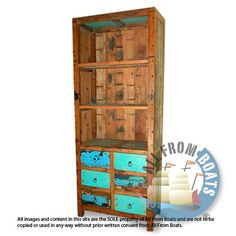 Book shelves with 6 drawers made from reclaimed boat timber. Nautical, recycled, reclaimed, boatwood, boat furniture, homedecor, interior design.