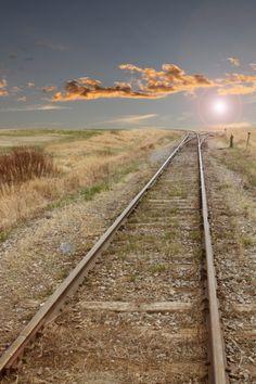 .Deserted railway track in Alberta - Canada°°