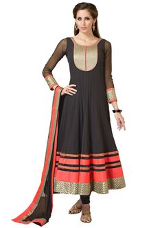 Black anarkali suit highlighted in zari embroidery
