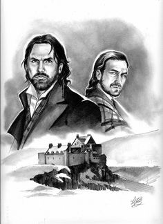 "the MacKenzie brothers by ~aryundomiel on deviantART  ""more Outlander fanart! this time I wanted to portray the 2 MacKenzies Dougal (left) and Colum (right) with Castle Leoch on the background...for the 2 brothers I used as reference the actor Paul Scheider for Dougal and Gerard Butler for Colum..."