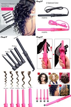 [Visit to Buy] Automatic Magic 5 in 1 Multifunction Hair Curlers Rollers Curling Irons with Glove 5pcs Ceramic Pro Curler Wand Tongs Salon Tool #Advertisement
