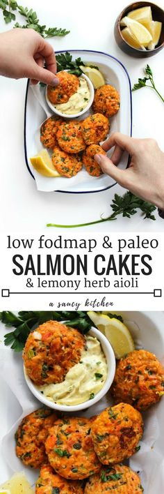Mini Paleo Salmon Cakes made with a lemony herb aioli and notes on how to make this FODMAP friendly