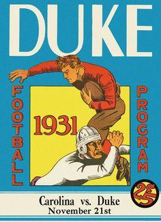 1931 Duke Blue Devils vs UNC Tar Heels 36 x 48 Canvas Historic Football Poster