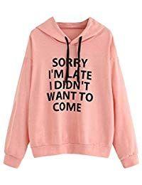 Women Hoodie Loose Letter Print Long Sleeve Pullover Tops Blouse Shirt  Sweatshirt Jumpers, T Shirt 86533019f8